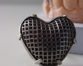 Gothic caged heart ring . vintage industrial punk rock dark fairytale poetic steely metal statement steampunk romantic tough love gift