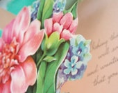 3D Vintage Flower Get Well Soon Greeting Card Pop Up1940s