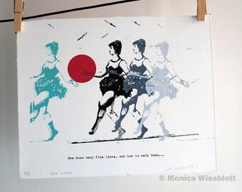 Silkscreen and type original artwork-Highwire Circus Performer