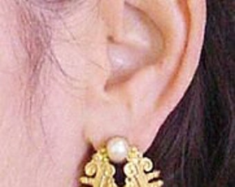 Etruscan Earrings Gold and Pearls by The Swan Collection