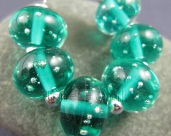 """Art glass lampwork beads, """"Teal Twinkle"""" set of 6 beads, FHFTeam Y3, GBUK, SRA"""
