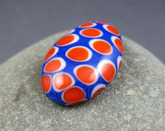 "Art glass cabochon ""Red Hot Polka"", lampworked and slumped recycled bead, FHFteam Y3, SRA, GBUK"