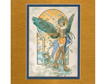 5x7 Matted Art Print - Art Nouveau Angel of Winter with Snowflakes