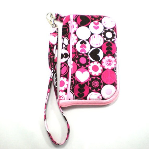 Wrap Around Zipper Gadget Cell Phone Case Wristlet Pink and Brown Peace Love and Flower Power