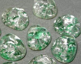 Vintage Green and Silver Foil Flat Back Glass Nugget Cabochons 15mm (2)
