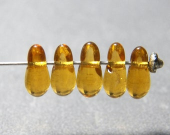 Vintage German Light Topaz 11x5mm Teardrop Glass Beads (12)