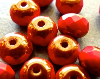 Vintage Faceted Czech Glass Opaque Red with Bronze Rondelles  7x5mm