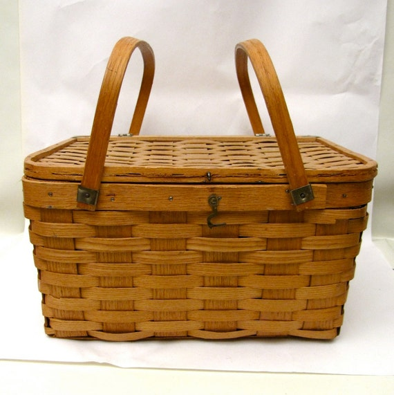Picnic Basket Pie : Vintage pie basket hand woven tier with by