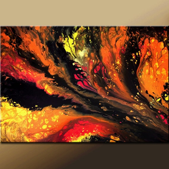 Abstract Canvas Art Painting 36x24 Original Modern Contemporary Art by Destiny Womack - dWo - Fires Within ON SALE