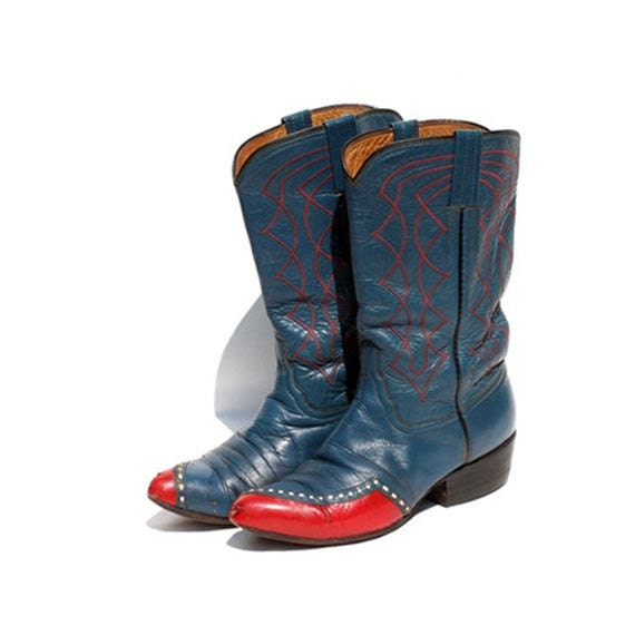 Vintage Leather Blue & Red Mid Calf  Boots size 6