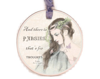 Ophelia Gift Tag, Shakespeare Gift Tag, Hamlet, Pale Pink, Cottage Chic, Soft Pale Pink