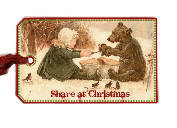 Woodland Christmas Tag,Share Christmas Tag,, Little Girl, Bear in Woods, Gift Tag, Vintage Christmas Card