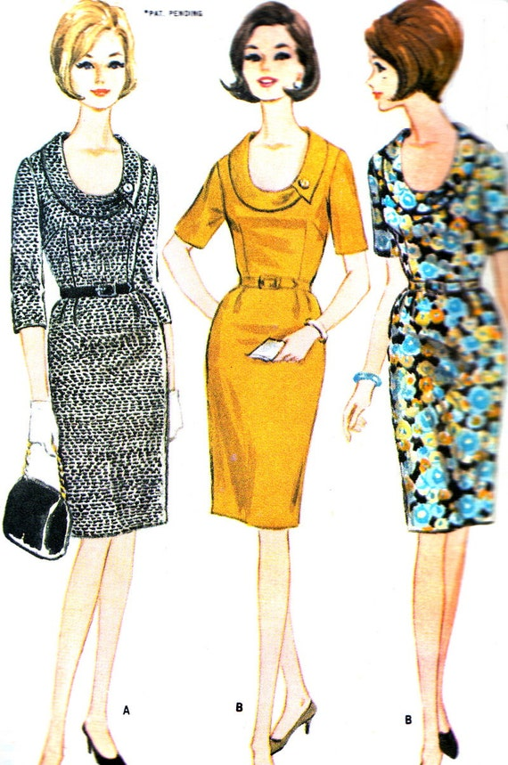 Vintage Sewing Pattern 1960s McCall's 8101 Plus Size Mad Men Sheath Dress with Slim Skirt and Cowl Neck Size 20 1/2 Bust 41