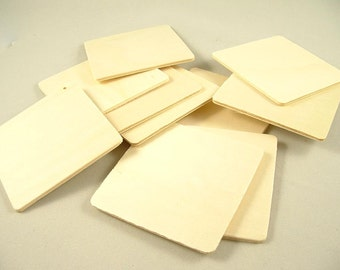 10 Wood Squares, Shapes - 3 inch x 1/8 inch Unfinished Wooden Squares for DIY
