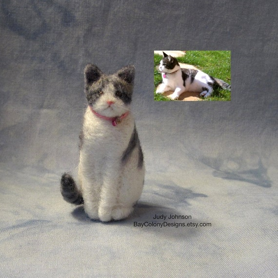 CUSTOM DEPOSIT from photos for one Needle-Felted Sitting Kitty (112211)