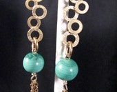 Malachite with gold plated dangles and gold filled chain earrings - My higher self