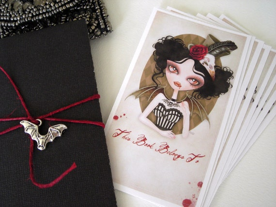 Countess Nocturne Gothic Bookplates Labels Gift Set of 8