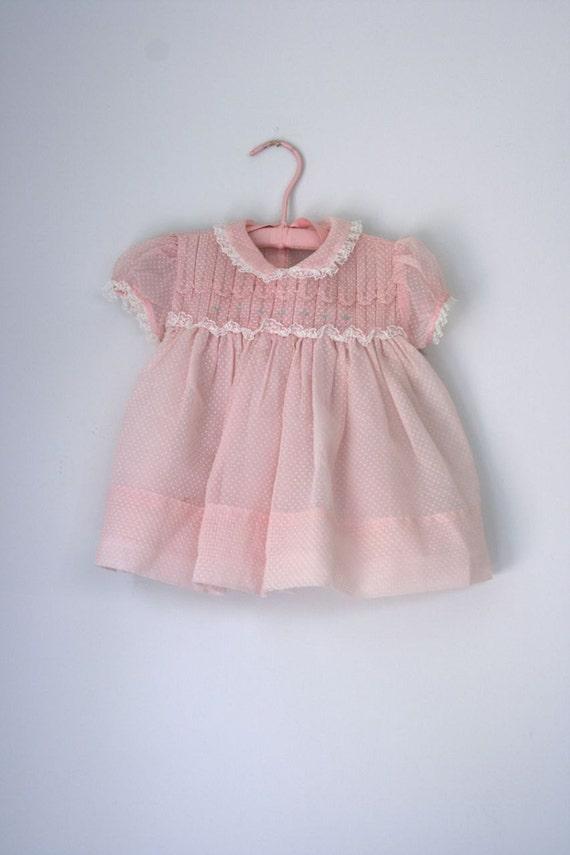 VTG Nannette pink smocked dotted swiss
