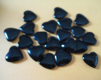 Lot of 20 10mm Heart Shaped No Hole Jet Beads Vintage and Beautiful Wire Wrapping
