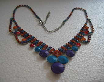 Colorful Rhinestone Necklace Hand Painted by Kayla Molaski