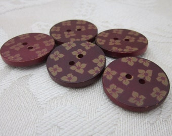 5 Dark Red Flower Painted Wood Buttons