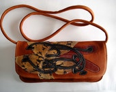 Large shoulder Clutch in tan leather with patent embossed snakeskin appliqued Lily
