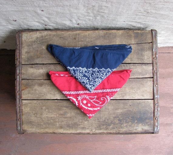 pair of vintage 1980s American-made bandanas