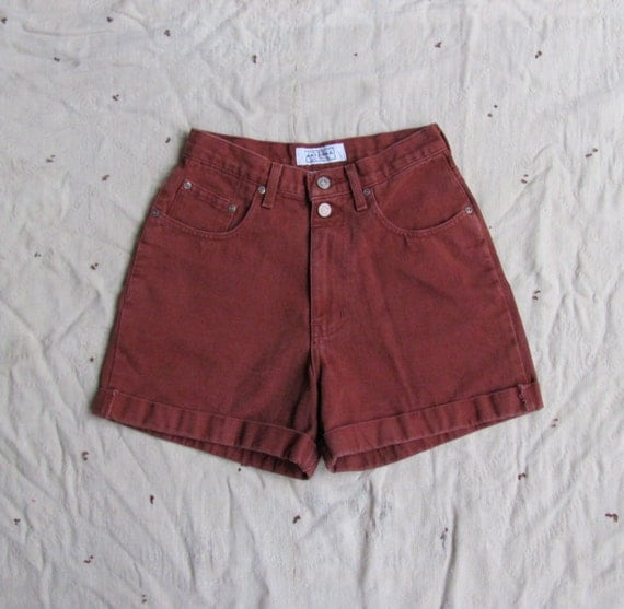 vintage c. 1990s RUST high waisted denim shorts s