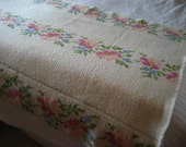 Vintage Floral Crocheted Shabby Chic Style Throw Blanket