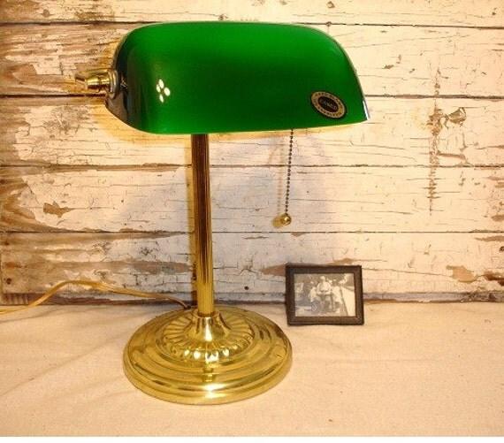 Vintage Bankers Desk Lamp Green Glass Shade j