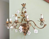 Vintage Italian sconce - large gilt gold and white enamel roses - dining room elegance Hollywood Regency electric bulb
