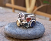 Stunning Sterling and Sapphire Stacking Rings-Custom Settings Available