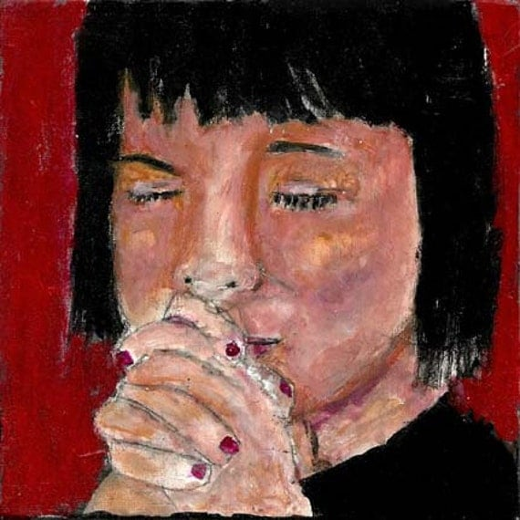 Acrylic Portrait Painting Religious Spiritual Original Prayer Praying Hands 6x6 canvas board little girl No 8