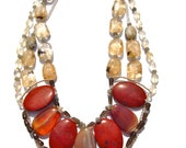 Red Agate, Jasper, & Quartz Bib Statement Necklace