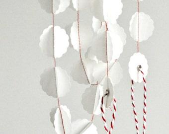 Translucent White Vellum Bauble Stitched Paper Garland Winter Home Decor