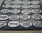 "24 Vintage Number Tags - Black Number Circles - Vintage Numbers - Scrapbook Pages Numbers - Vintage Numbered Circles - 5/8"""