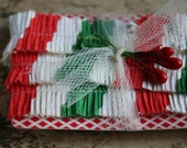 Vintage Crepe Paper Ruffles - 1940s Red and Green Candy Cane Stripe Christmas Trim - Vintage Christmas Garland Trim - Tiny Dollhouse Garland