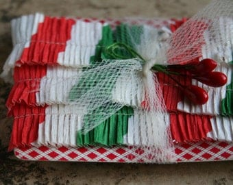 Vintage Crepe Paper Ruffles - 1940s Red and Green Candy Cane Stripe Christmas Trim - Vintage Christmas Garland Handmade Trim - 7/8 Inch
