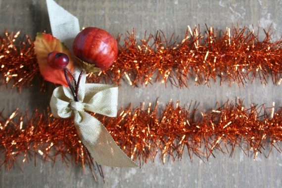 Harvest orange tinsel garland wired trim vintage style