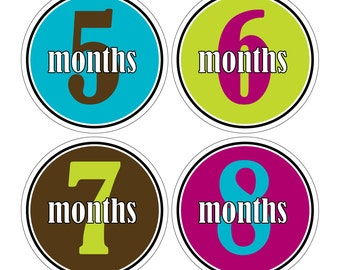 12 Monthly Baby Milestone Waterproof Glossy Stickers - Just Born - Newborn - Weekly stickers available - Design M021-07