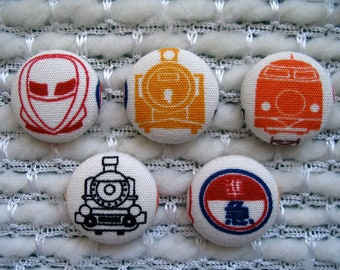 "Japanese Trains Fabric Covered Buttons - Set of Five 7/8"" buttons, Train Button, Vintage Train, Bullet Train, Red Yellow Black White Fun"