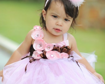 Whimsical Tutu Dress with macthing leg warmers for your little girl size 0-3T - Perfect for Birthday or wedding