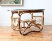 Franco Albini Style Rattan Side Table - GallivantingGirls
