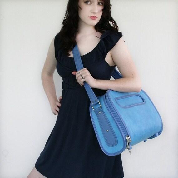 VINTAGE Light and Ocean Blue Messenger Bag Pick Your Poison LUGGAGE