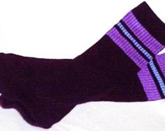 Black Baby Leg Warmers With Purple Accent Stripe,  Infant to Toddler Size, Ready to Ship