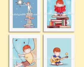 "Nursery art, ""Library art print"" , baby boy nursery decor, playroom decor, kids wall art, children's art, alphabet art, Set, 4 prints"