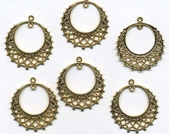 Vintage Brass Hoop Earring Stampings - 25mm - Gold Color Plated