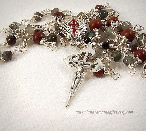 St James Rosary Prayer Beads Santiago de Compostela African Bloodstone Artisan Unbreakable