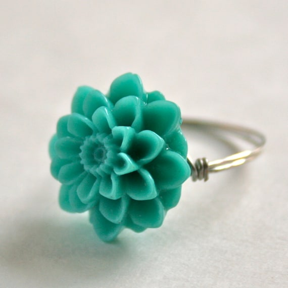 Blue Flower Ring Wire Wrapped in Silver Neon Blue