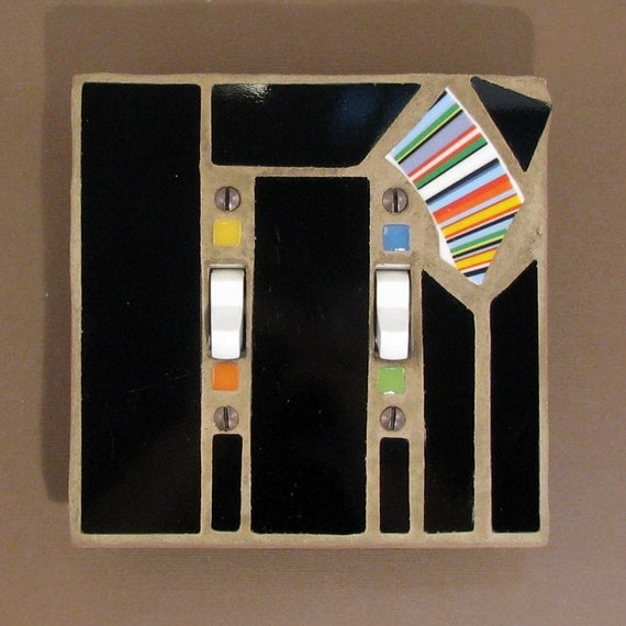 Black Mosaic Stained Glass - Switch Plate - Light Switch Cover - Double Toggle - 7433